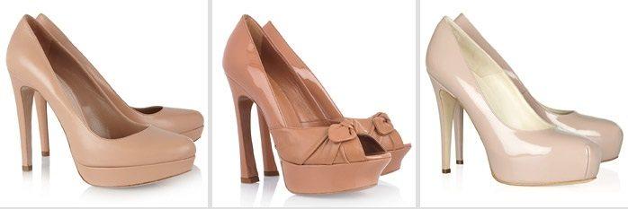 Бежевые туфли - идеальный вариант под черное платье
