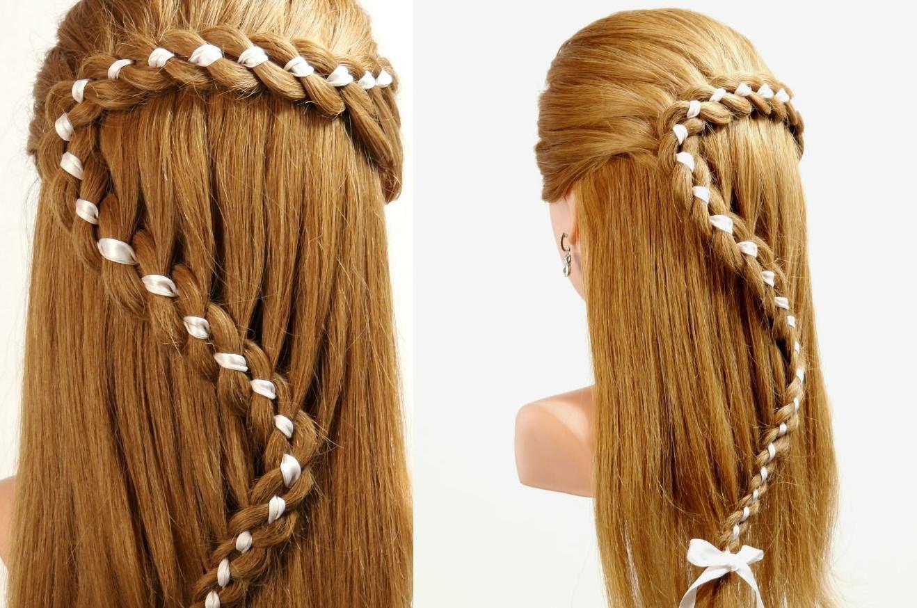 Заплетание ленты в волосы