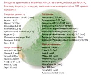 Пищевая ценность и химический состав авокадо