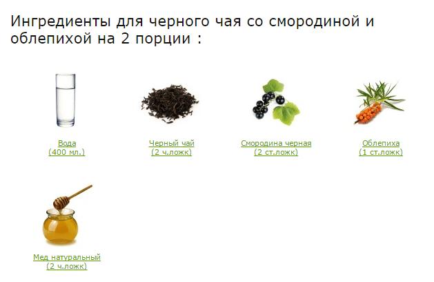 Черный чай со смородиной и облепихой