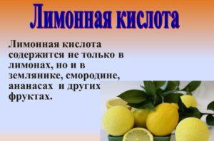 Где содержится лимонная кислота