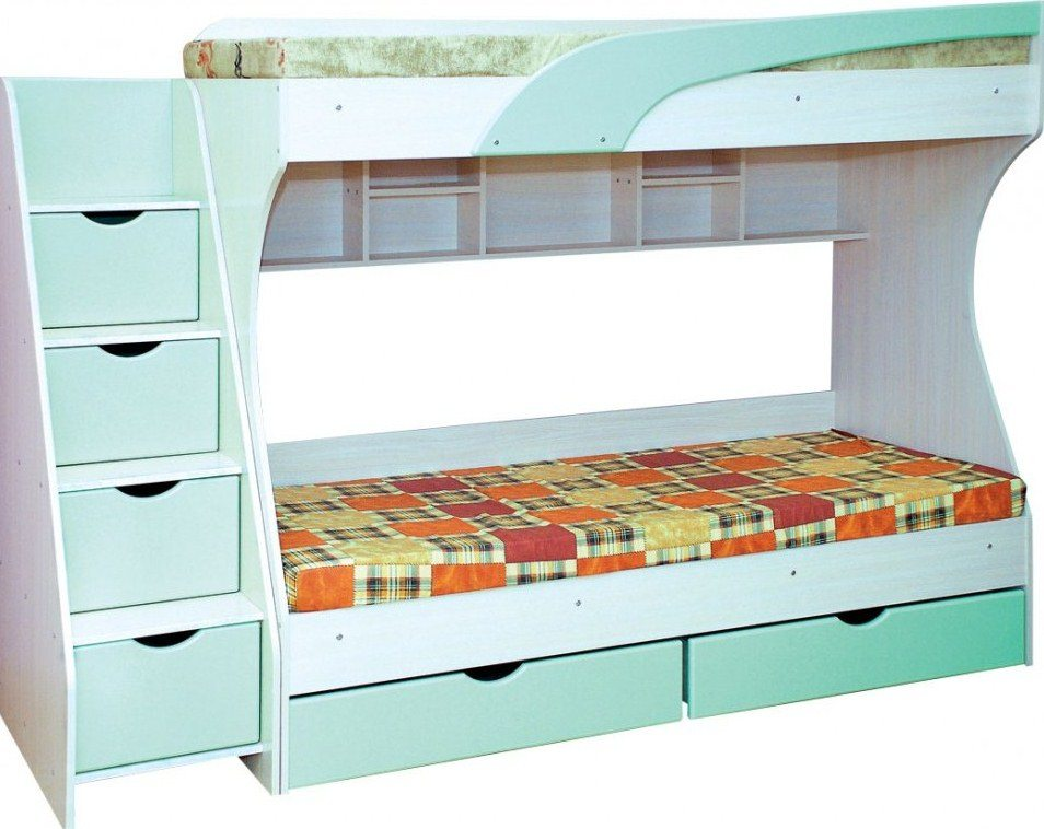 Детская кровать с полочками для хранения вещей