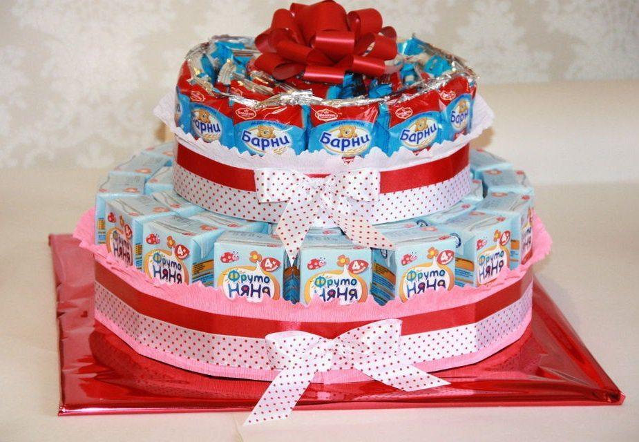 Торт из соков и Барни - отличный вариант на день рождения в детский сад
